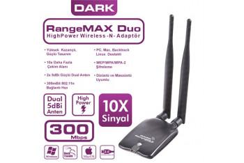 Dark RangeMax 300Mbps Çift Antenli Wireless-N USB Adaptör Win10 Destekli DK-NT-WDN300HP2A