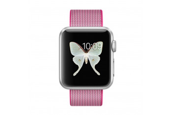Apple Watch 38mm Gümüş Rengi Alüminyum Kasa ve Naylon Örme Pembe Kordon