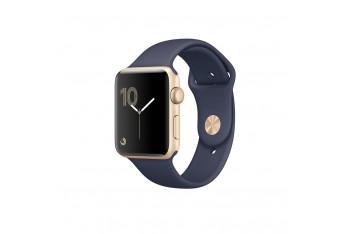 Apple Watch series 2 42mm Altın Rengi Alüminyum Kasa ve Gece Mavisi spor Kordon