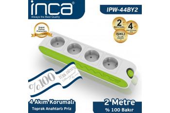 Inca %100 Türk Tasarımı 4'lü Akım Korumalı Işıklı Priz 2mt Beyaz - Yeşil