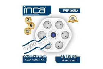 Inca 6lı Oval Akım Korumalı Işıklı 2M Beyaz Priz IPW-06B2