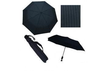 Zeus Co. Siyah Gri Çizgili Otomatik Rüzgara Dayanıklı Şemsiye