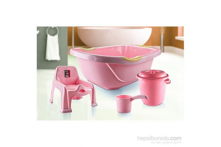 Hiper 4 Parça Bebek Banyo Seti / Pembe