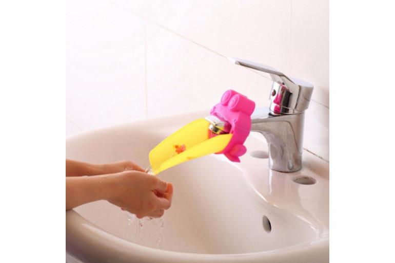 Momz Pembe Kurbağa Musluk Uzatıcı Bebek Çocuk Banyo Aksesuarı Faucet Extender