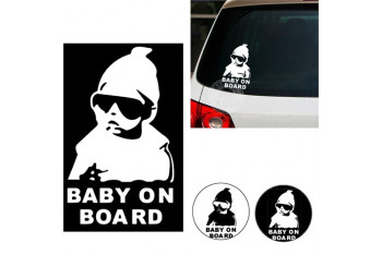 Csı Arabada Bebek Var Fosforlu Sticker-Beyaz