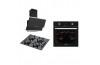 Eminçelik Black Pradise 3lü Ankastre Set 21220 Multifonksiyon Ankastre Fırın 12225 Siyah Cam Ocak 14540 Slim Siyah Cam Oval Davlumbaz