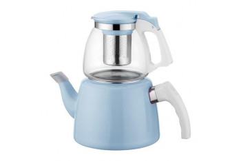 Hiper Mavi Cam Emaye Çaydanlık Seti