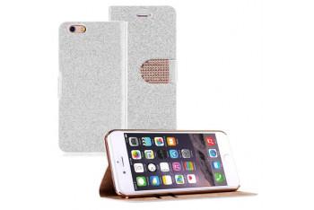Microsonic iPhone 6 4.7 Pearl Simli Taşlı Suni Deri Kılıf Beyaz - CS150-PRL-IP6-BYZ