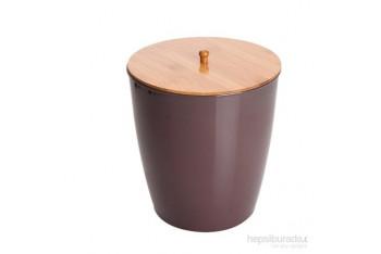 Bambu Kahverengi Melamin Çöp Kovası