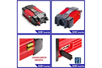 Syd 12 Volt - 220 Volt 500 Watt Lüx Power İnverter Usb