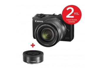 Canon EOs M FRA 18-55 kit 22mm Kit 90EX Dijital Fotoğraf Makinesi - siyah