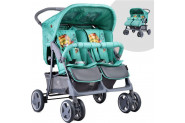 Lorelli Twin Yan Yana Ikiz Bebek Arabası Green İndians - Yeşil