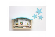 Ceebebek Ahşap Bebek Çocuk Odası Duvar Rafı Mavi Kitaplık Montessori Raf