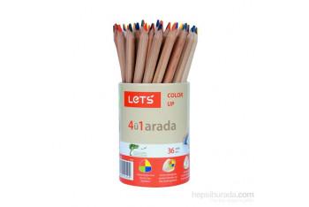 Lets L2360 Tek Kalemde 4 Renk Boyama Kalemi 36Lı Kap MaviKırmızıSarıYeşil
