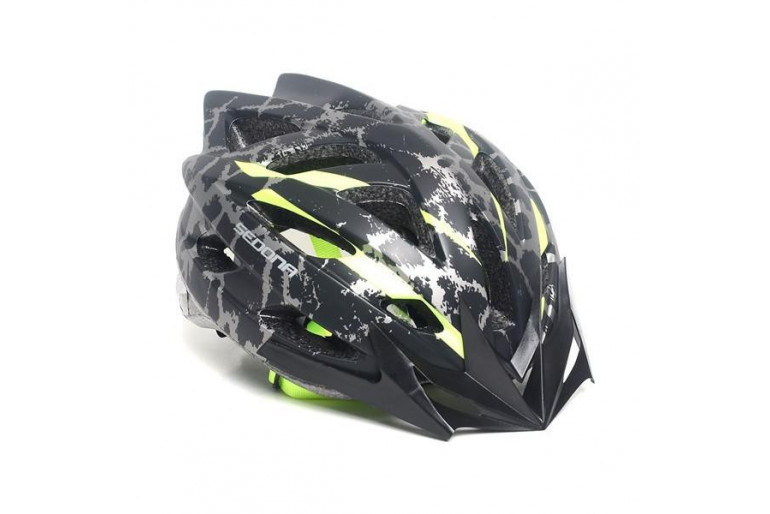 Sedona Mv 39 Kamuflaj Desenli Bisiklet Kaskı Siyah Yeşil - XL