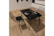 Vudi Design lifos Yemek Masasi Mermer Desenli 6 Renk Siyah