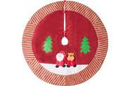 Kikajoy Yılbaşı Çam Ağacı Altı Örtüsü Noel Baba Kabartmalı